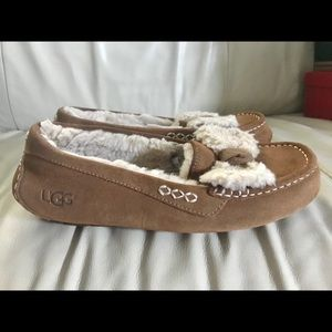UGG Ansley Fur Bow  Slippers